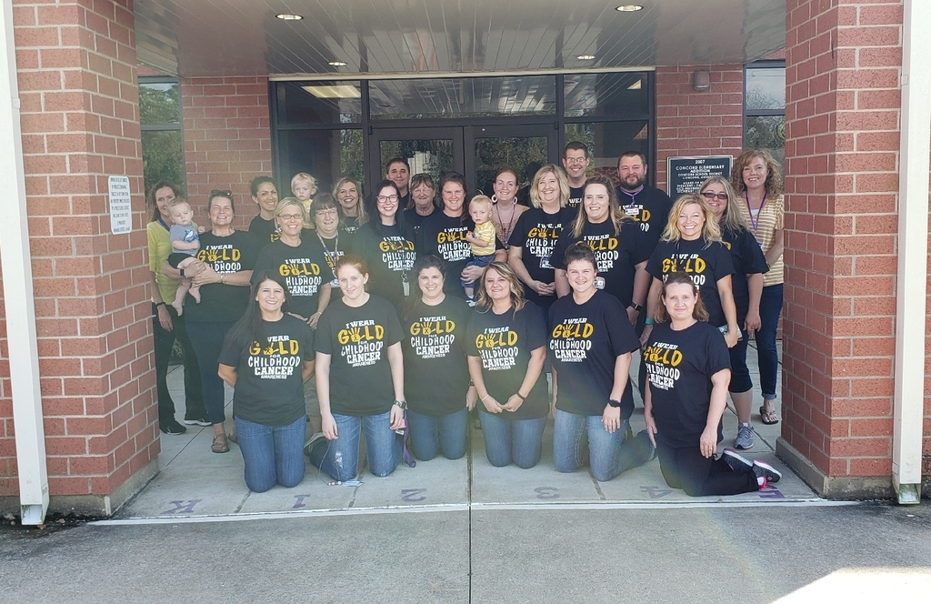 Concord Elementary staff showing our support for Childhood Cancer Awareness month.