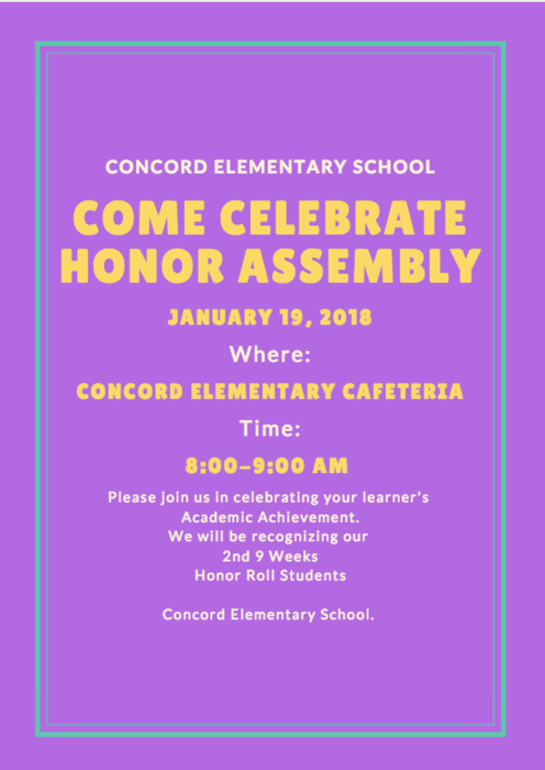Honor Assembly 1/19/18 @ 8:00 AM